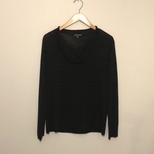 Eileen Fisher black striped roll neck sweater